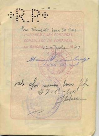 Lewek HERSZKOWICZ - Visa signed by Braga in Bayonne