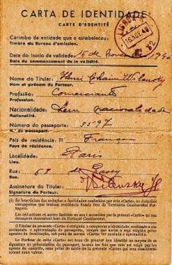 Portuguese identity card of Henri WILENSKY