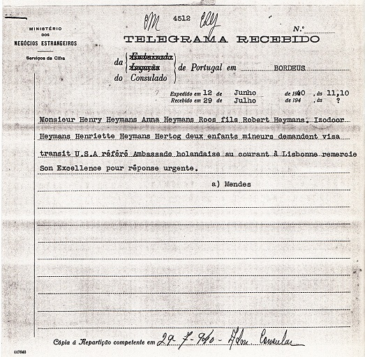 telegram from Sousa Mendes to Salazar