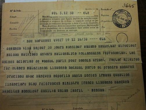 telegram from Sousa Mendes to Lisbon on behalf of BOSSELAAR