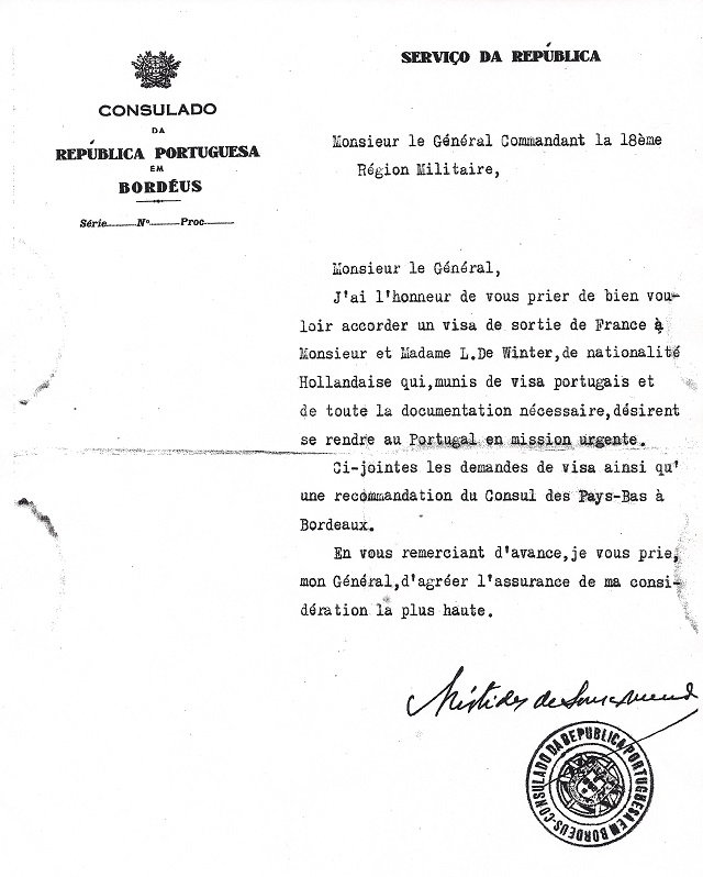 Letter from Sousa Mendes on behalf of DE WINTER