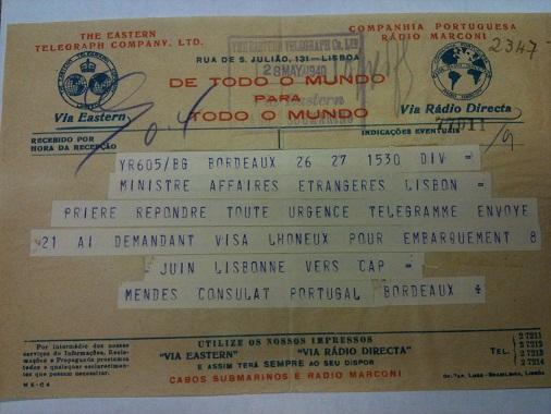 Telegram from Sousa Mendes to Lisbon on behalf of LHONEUX