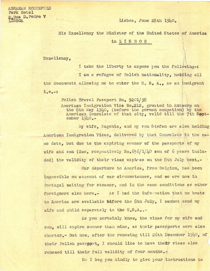 Letter from Abraham ROZENFELD