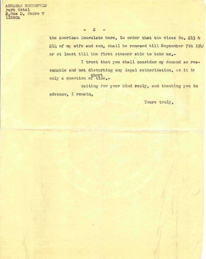 Letter from Abraham ROZENFELD, page 2