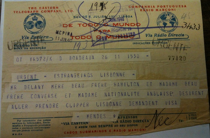 Telegram from Sousa Mendes on behalf of CONVERSE, DELANY & HAMILTON