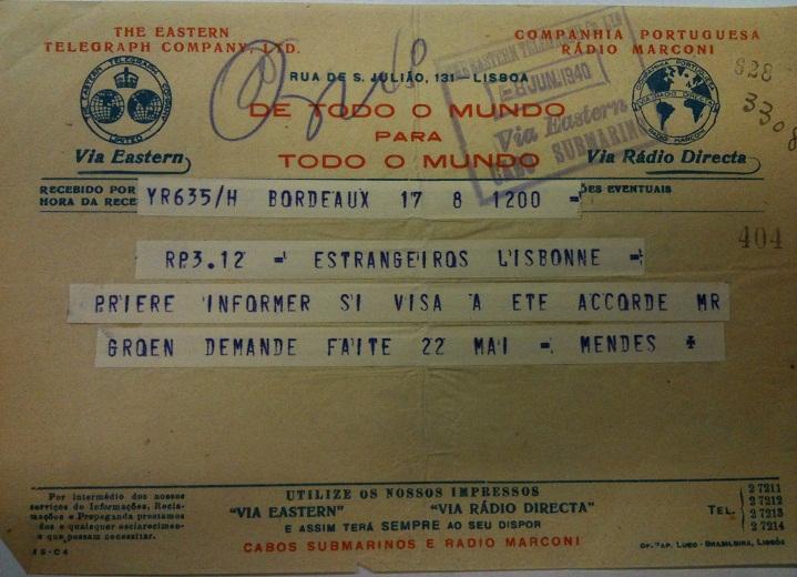 Telegram from Sousa Mendes on behalf of DE GROEN