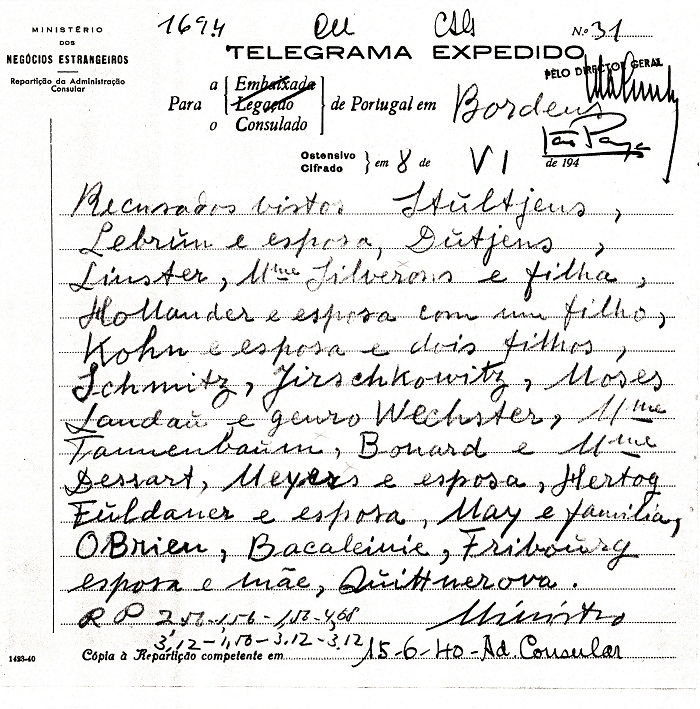 Telegram from Salazar denying visas to HIRSCHKOWITZ family and others