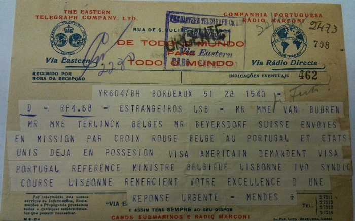 Telegram from Sousa Mendes on behalf of BEYERSDORF and TERLINCK families