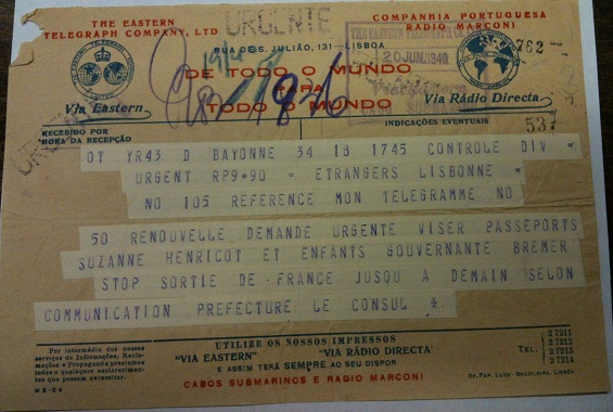 Telegram from Sousa Mendes on behalf of BRENET/HENRICOT