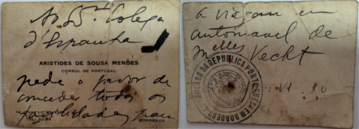 Front and back of calling card given by Sousa Mendes to Bernardine Vecht on June 6, 1940 to facilitate her journey through Spain on the way to Portugal.