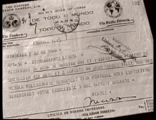 Telegram from Sousa Mendes on behalf of VAN HAVA and others