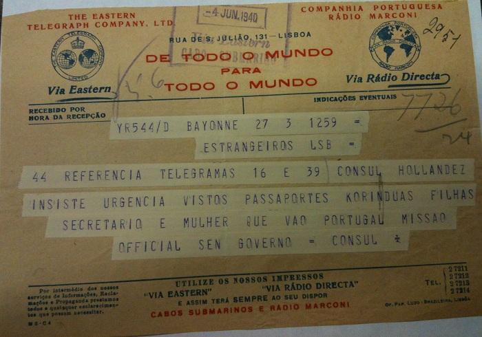 Telegram from Sousa Mendes on behalf of KORŸN