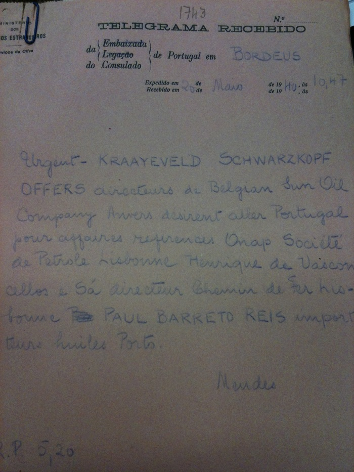Telegram on behalf of KRAAYEVELD, OFFERS and SCHWARZKOPF