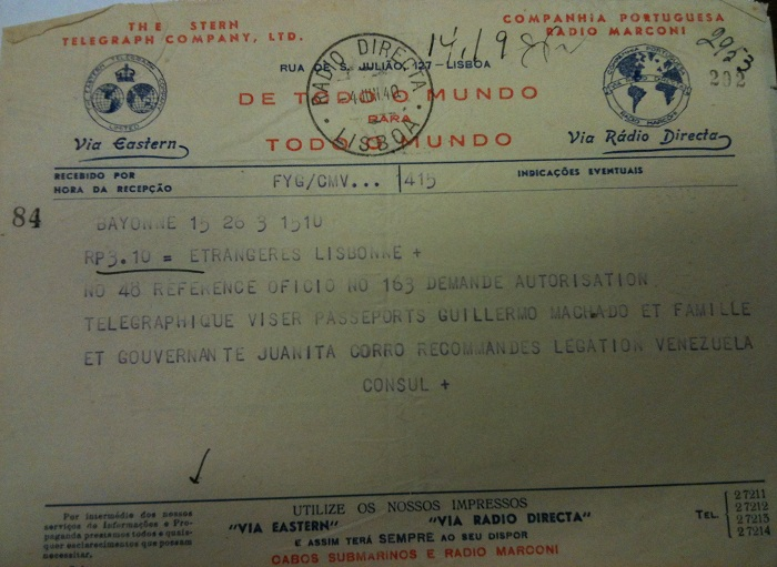 Telegram from Sousa Mendes on behalf of MACHADO and CORRO