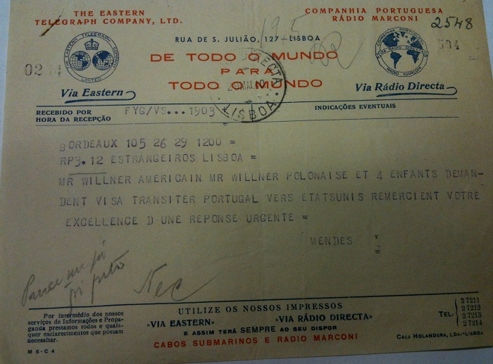 Telegram from Sousa Mendes on behalf of WILLNER