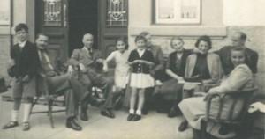 Refugees in Curia, 1940. L-R: Frederic SEGALL, William PETERS, unknown, Eva STADLER, Edith STADLER, unknown, Jana HAHN, Charlotte BENBASSAT, Marco BENBASSAT, Milada PETERS