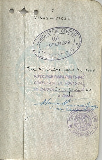 Visa signed by Vice-Consul Vieira Braga for Pauline LORIE