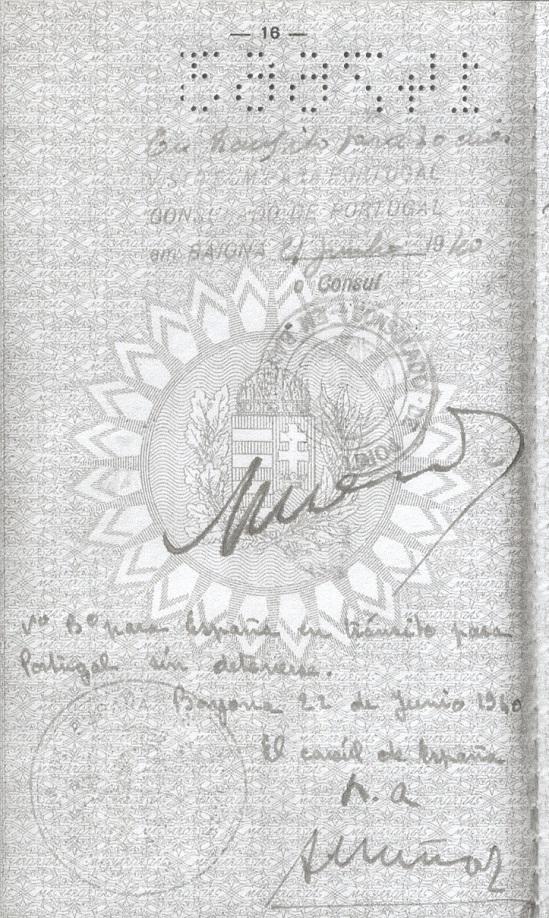 Visa signed by Aristides de Sousa Mendes for Richard BACK