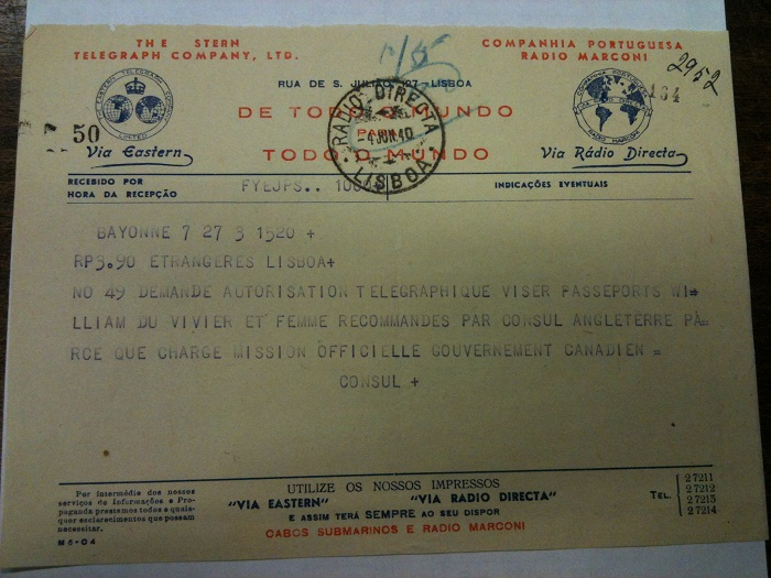 Telegram from Sousa Mendes on behalf of Du Vivier