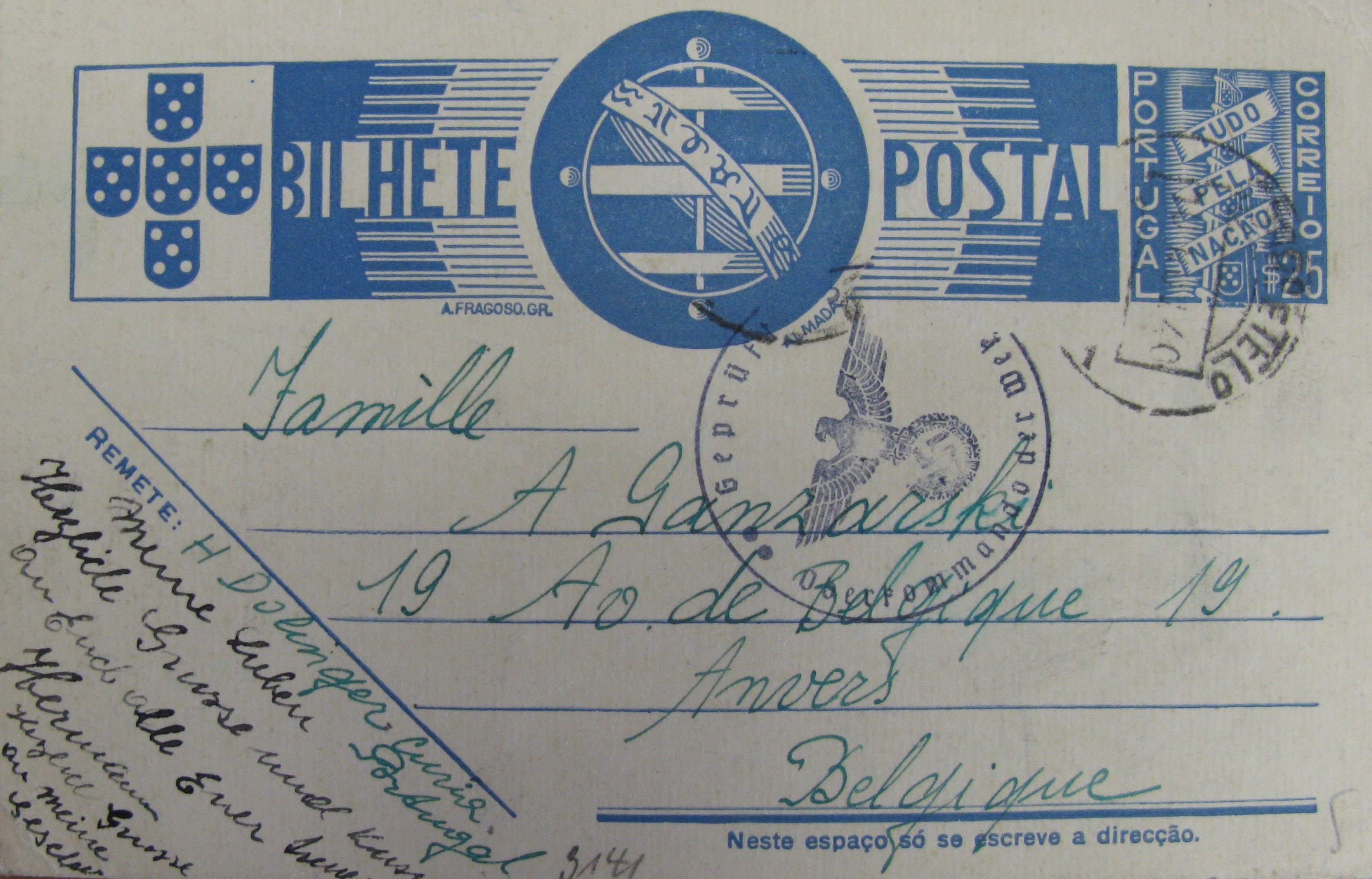 DOLINGER-GANZARSKI Portugal nov 1940