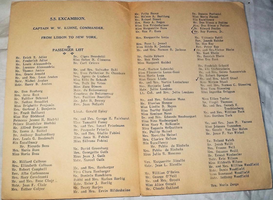 Excambion passenger list