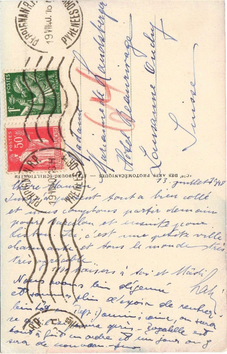 July 13, 1940 Lali's postcard from Perpignan