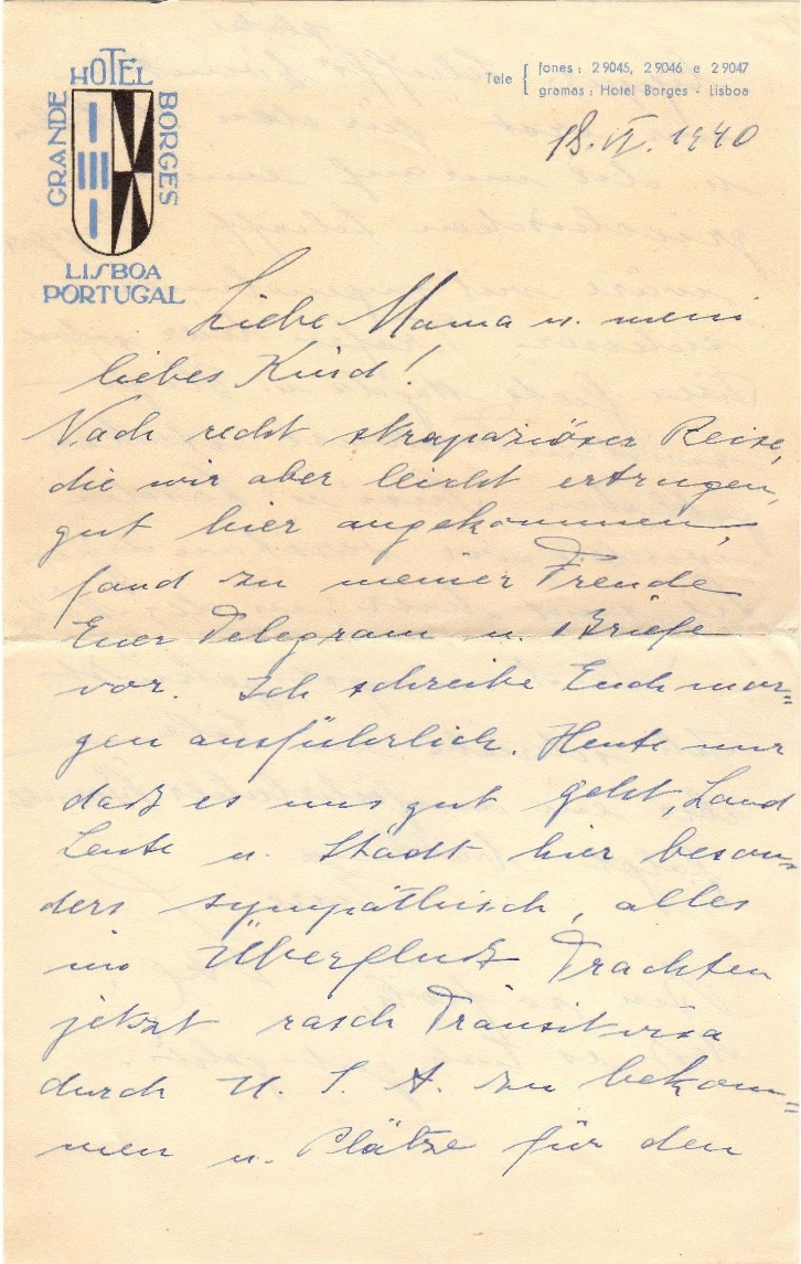 July 18, 1940 Lali's short letter about safe arrival in Lisbon