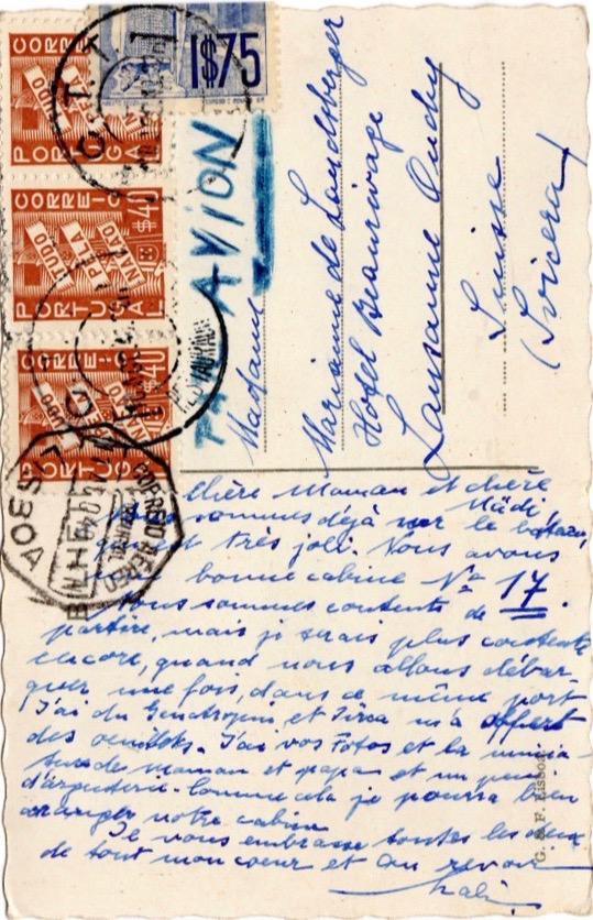 Postcard from Lisbon, August 1940 (1)