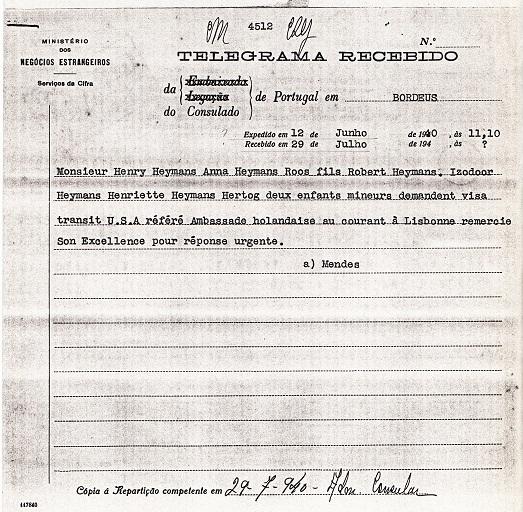 telegram from Sousa Mendes to Salazar
