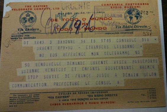 Telegram from Sousa Mendes on behalf of BRENET/HENRICOT