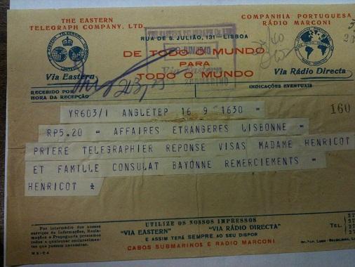 Telegram from Sousa Mendes on behalf of HENRICOT