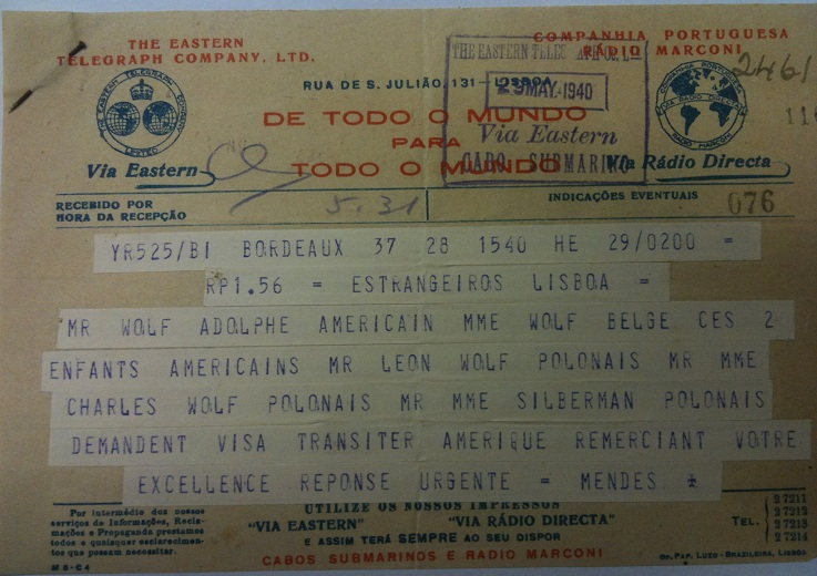 Telegram from Sousa Mendes on behalf of SILBERMAN
