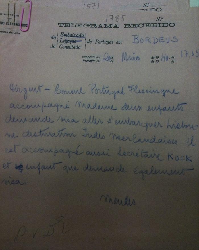 Telegram from Sousa Mendes on behalf of Flessingue Consul and secretary Kock