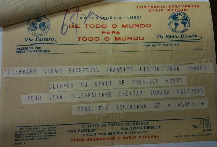 Telegram from Sousa Mendes on behalf of ALVES