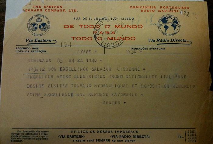 Telegram from Sousa Mendes on behalf of BRUNO