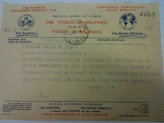 Telegram from Sousa Mendes on behalf of BRYANS