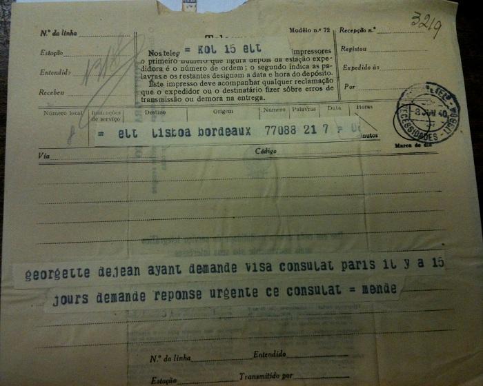 Telegram from Sousa Mendes on behalf of DEJEAN