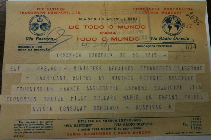 Telegram from KUSMIRAK requesting a visa