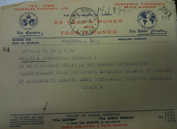 Telegram from Sousa Mendes on behalf of MACHADO and CORRO