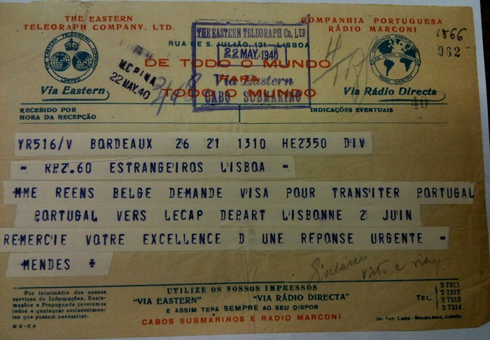 Telegram from Sousa Mendes on behalf of REENS