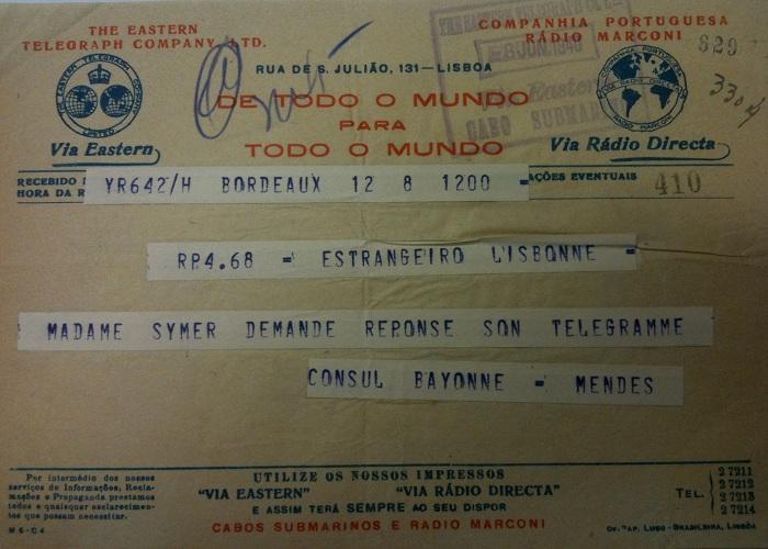 Telegram from Sousa Mendes on behalf of SYMER