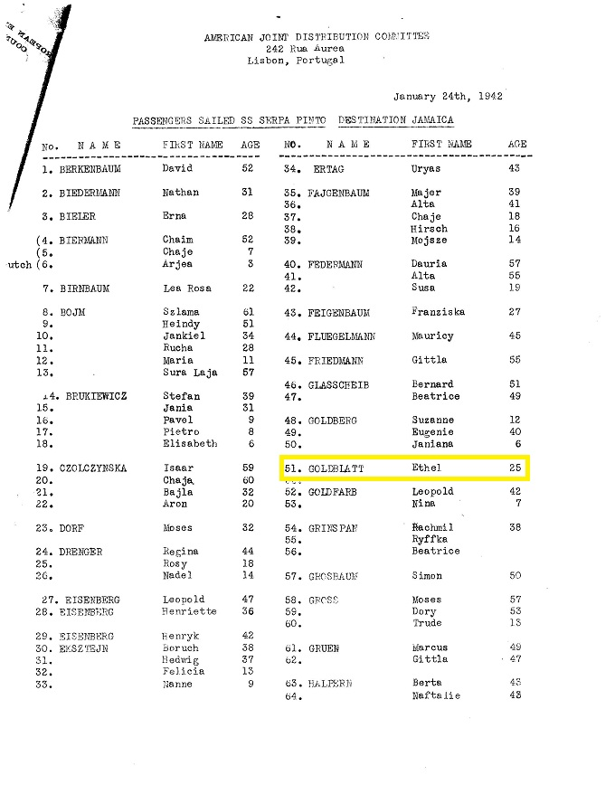 Ethel GOLDBLATT on Serpa Pinto passenger list, 1942
