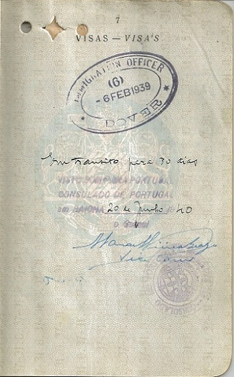 Visa signed by Vice-Consul Vieira Braga for Georgette LORIE