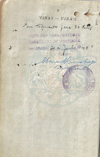 Visa signed by Vice-Consul Vieira Braga for Hirsch LORIE