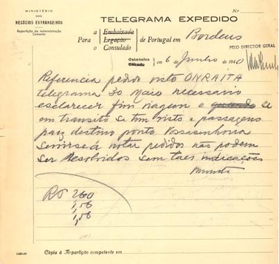 Telegram regarding ONRAITA