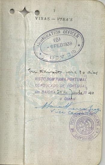 Visa signed by Vice-Consul Vieira Braga for Pauline LORIE