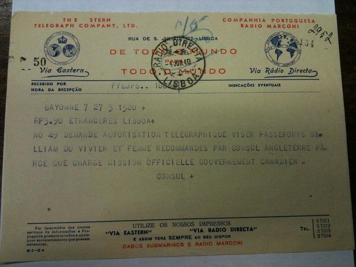 Telegram from Sousa Mendes on behalf of Du Vivier