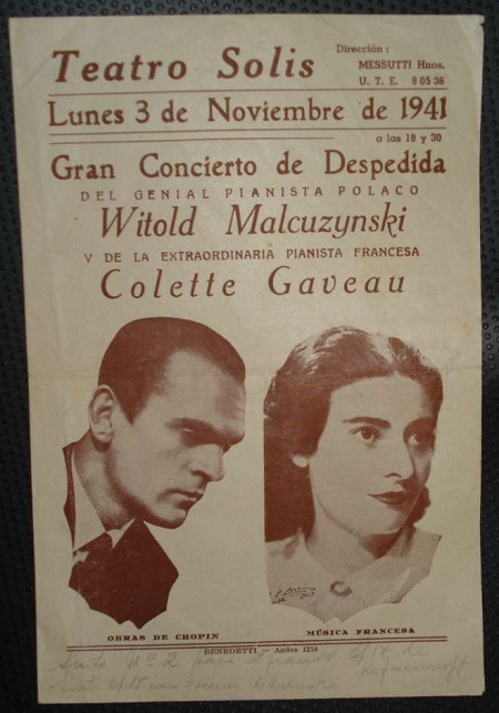 Flyer from 1941 concert at Teatro Solis in Uruguay